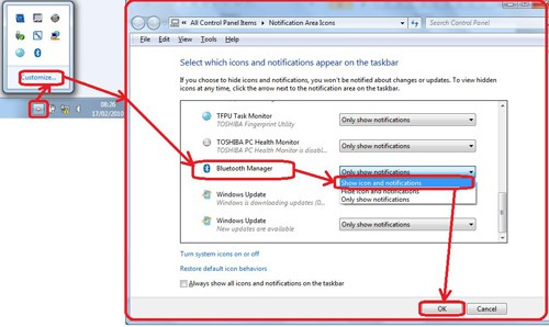 Bluetooth Settings on the laptop