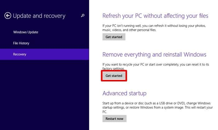 How to Factory Reset Samsung Laptop in Windows 8/8.1