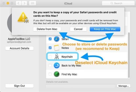 iCloud Keychain of Your Mac Off