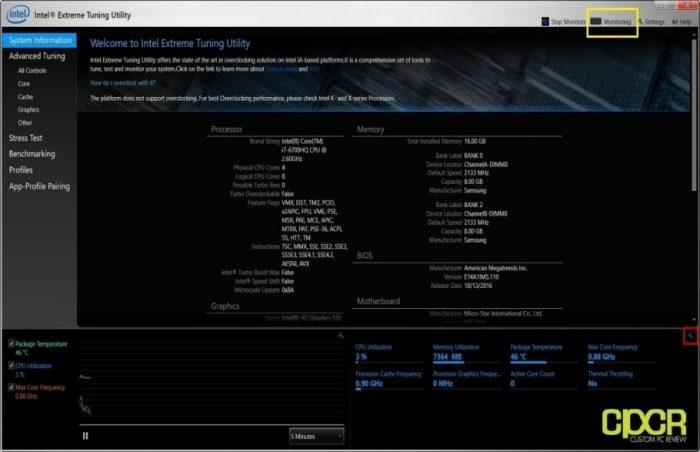 using Intel's Extreme Tuning Utility